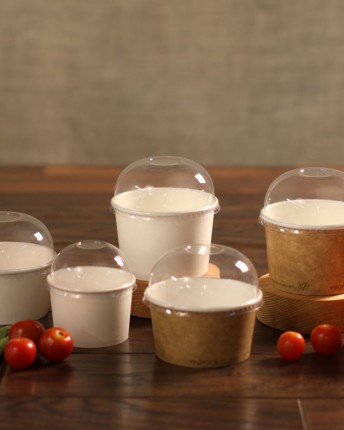 Kraft/White Paper Soup Cups and Dome Lids