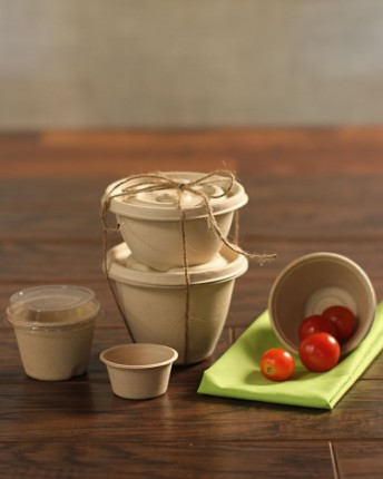 Kraft Fiber Bowls and Lids Barrel